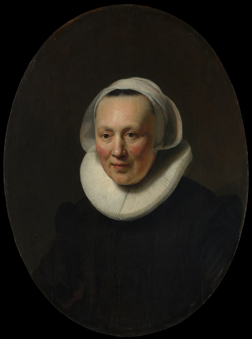 Woman wearing a collar