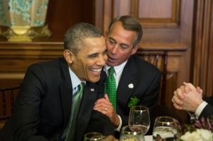 Barack Obama &   John Boehner enjoying Saint Patrick's Day 2014